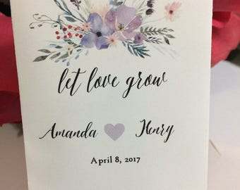 Wedding Seed Packets Purple Watercolor Floral 40 Wedding Favors Seed Packets Wildflower Seeds Custom Personalized