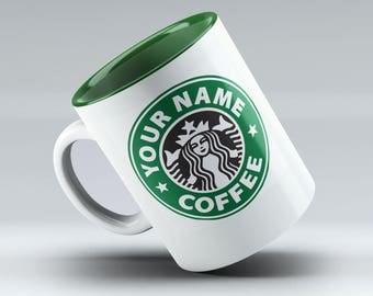 Personalized Starbucks Mug, Starbucks Coffee, Starbucks mug, Starbucks Cup, Starbucks, Custom Starbucks Mug, Green Mug Design!