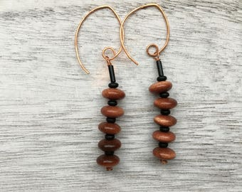 Jasper Czech glass Earrings ornage black brown