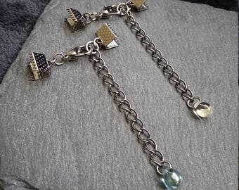 6 sets of Gunmetal 12mm Lobster Clasps with Crimp Ends for 6mm Wide Ribbon & Glass Drop