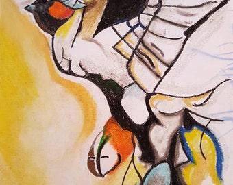 Bird - charcoal drawing - drypastel drawing - wallart - artdeco - gift - animals - birds - art - artist - bird drawing