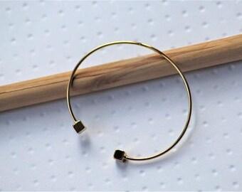 Bangle Bracelet gold plated geometric end, women gold plated, gold plated, minimalist bracelet women Bangle bracelet,