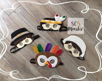 Thanksgivng Fall Masks, Kids Masks, Kids Costumes, Pilgrim Masks, Indian masks, Turkey Masks, Thanksgiving Play Masks