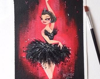 Original Black Swan Ballerina Midi Painting
