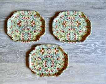 3 Elite Metal Snack Trays, Small Stackable Trays, Desk Accessory, Trinket Dishes, Mid Century Trays, Retro Barware
