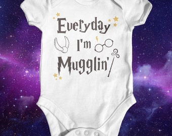 Everyday I'm Mugglin' Harry Potter Baby Bodysuit | Harry Potter Baby Clothes | Baby Shower Gift | Funny Baby Bodysuit | Take Home Outfit