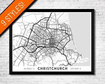 Every Road in Christchurch map art   Printable Christchurch print, New Zealand map, Christchurch poster, Christchurch art, NZ map wall art