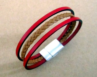 Bracelet braided red/Camel leather man, loving money 10MM plate clasp.