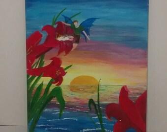 Fairytale art, fairytale painting, 16x20 acrylic painting