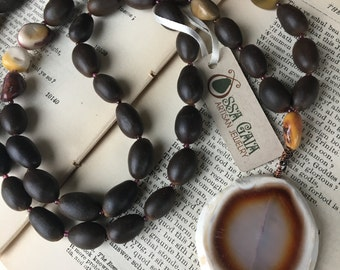 Organic Lotus Seed Mala Necklace, Brown Agate, Mookaite, and Garnet; Eco Friendly Jewelry; Long Boho Necklace; Zen Jewelry; Meditation Beads