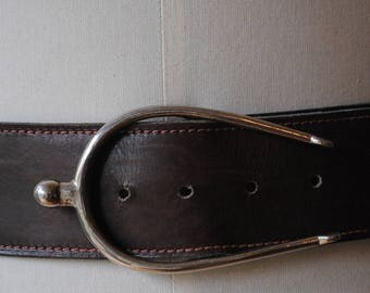 Brown /boucle woman belt silver spur 1990