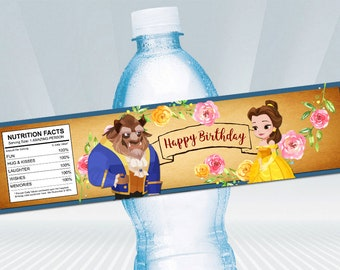 Beauty and the Beast Bottle Label. Beauty and the Beast Party. Party Supplies. Baby Shower. DIGITAL FILE