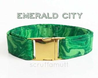 Emerald City Dog collar / Adjustable Dog Collar / Green Dog Collar / Marble Dog Collar / Metal hardware dog collar