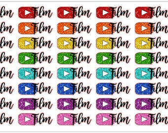 Glitter Youtube Reminder Stickers