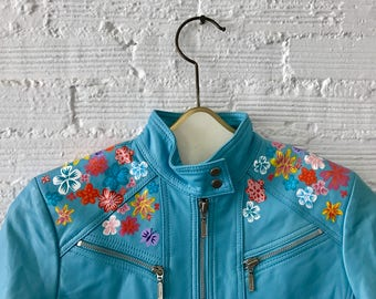 Vintage Blue Leather Moto Jacket with Hand-Painted Flowers