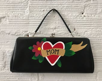 Hand-Painted Vintage Clutch: Mom