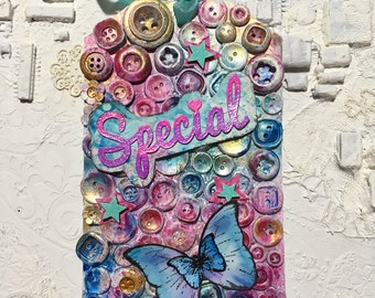 Special card mixmedia buttons only gift