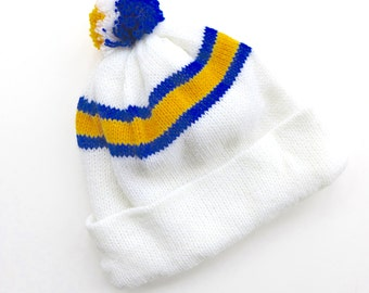 Vintage Kid's Retro Winter Wooly Hat with Pom-Pom - White with Retro Blue and Yellow Stripes - New Old Stock