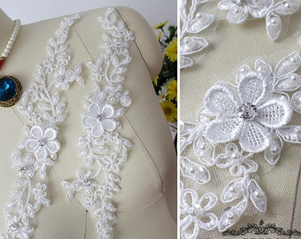 4pcs 32x7cm ivory Rhinestones bridal wedding dress lace appliques patches vg4sy free ship