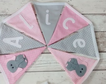 Elephant bunting, nursery decor, personalised bunting, new baby gift, christening gift, baby bunting, themed bunting, birthday gift,