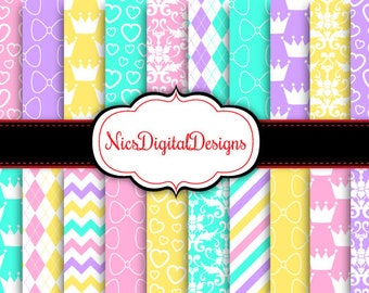 Buy 2 Get 1 Free-20 Digital Papers. Little Princess Patterns in Girly Colours (13 no 3) for Personal Use and Small Commercial Use