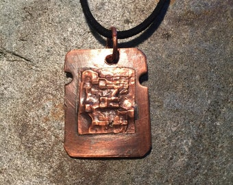 Steampunk Industrial Style Circuit Board Embossed Pendant, Steam Punk Necklace And Black Velvet Cord