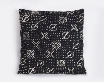 18x18 inch Black Mud Cloth Pillow Cover