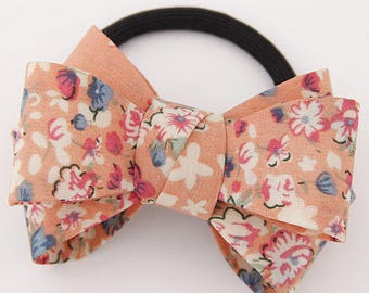 Orange Floral Bow knot Hair Tie - Japanese Kimono Bow Knot Inspired