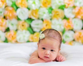 Set of 4 Flower Headband   Baby Kids Hair Accessorie   Swan, Mustard, Peach & Coral Flower Headband