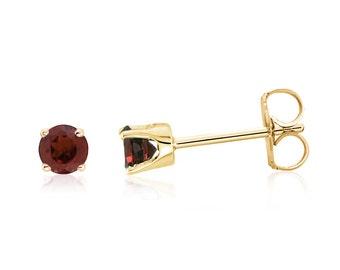 100% 14K Yellow Gold Genuine Red Garnet Gemstone Stud Earrings .20ct - 3mm Round- January Birthstone - Gift For Her - Screw Backs Optional