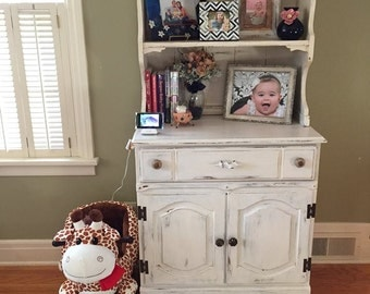 SOLD- Refinished Farmhouse/Country Chic/Rustic China Cabinet/ Hutch