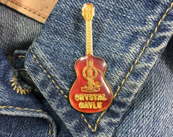 Crystal Gayle Guitar Lapel pin (stock# 720) hat pin, lapel pin, enamel pin, country music, western, acoustic guitar