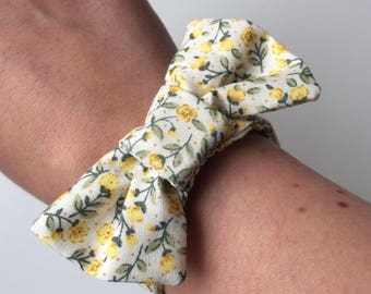 Hand sewn, floral, bow textile wrist cuff, vintage bracelet, MEDIUM, cream, yellow flowers- jewellery