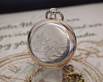 Antique Solid Silver Key Wind Pocket Watch - Cylindre Huit Rubis
