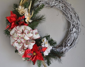 Antler Wreath - Christmas Antler Wreath - Rustic Christmas Wreath - Deer Antler Wreath - Hunters Decor - Cabin Decoration -Rustic Wreath