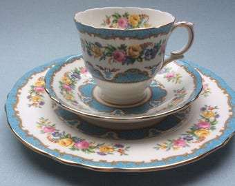 Vintage tea trio Crown Staffordshire, English porcelain, floral tea cup and saucer