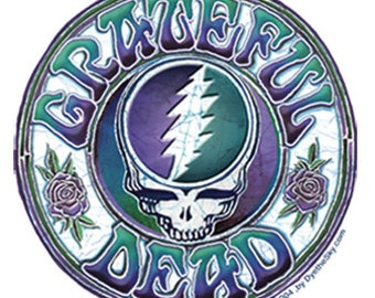 Grateful Dead Sticker- Steal Your Face with classic lettering - Stealie- 13 point lightning bolt