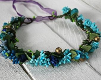 Something Blue Flower Wreath fotosession Wreath, varicoloured wreath, bridal wreath, wedding wreath, wedding headpiece, ready to shipping