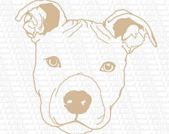 Pitbull Single Color Svg Clipart, Dog vector art by SpeecchBubble