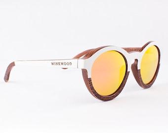 Wood Sunglasses, Polarized Sunglasses, Wooden Sunglasses, Wood Eyewear, Handmade Sunglasses, White Sunglasses, Unique Sunglasses by WINKWOOD