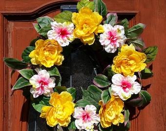"SUMMER CLEARANCE Door Wreath 21"" Handmade"