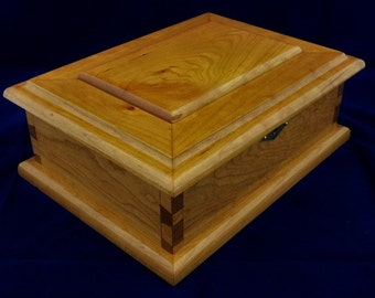 Handcrafted Cherry Jewelry Box #41 Handmade with one removable tray and removable dividers