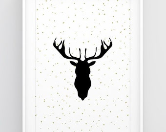 Deer head decor, Deer art, Christmas poster, Deer antler art, Deer silhouette, Christmas deer decoration, Big wall art, Poster download