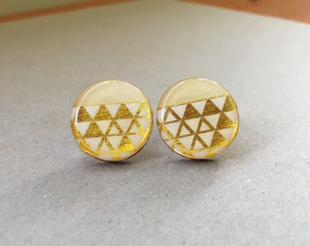 20mm Gold Triangle Resin/Bamboo Round Studs • Earrings • Hypoallergenic • Surgical Steel • Glossy