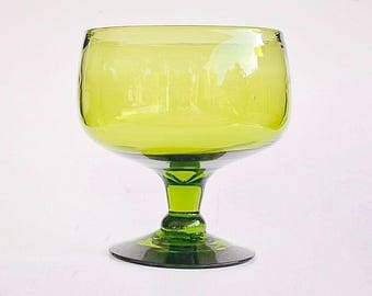 vintage green glass footed bowl; green glass planter