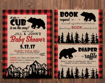 Little Cub Baby Shower Invitation |  Couples Baby Shower | Wilderness | A Little Cub is on His Way | Rustic | Flannel Invites | Mountains