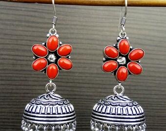 Red Coral Earrings   Ethnic Indian Earring   Dangle And Drop Earring   Gemstone Jewelry Earring   Oxidized earrings   Festival Earring   E75