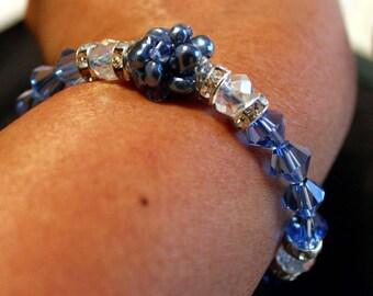 Beautiful beaded handmade bracelet in blue; beadweaving, shamballa, elegant, blue, grey, clear, party wear, casual wear
