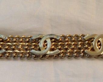 Vintage Large Chanel CC Logo Chain Wide Bracelet