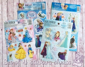 Set of 4 stickers sheets with Disney princesses - Beautiful stickers with Elza, Anna, Belle, Snow White, Ariel, Cinderella in winter clothes